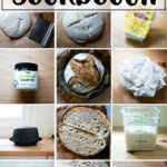 A montage of images depicting sourdough bread baking essential tools.