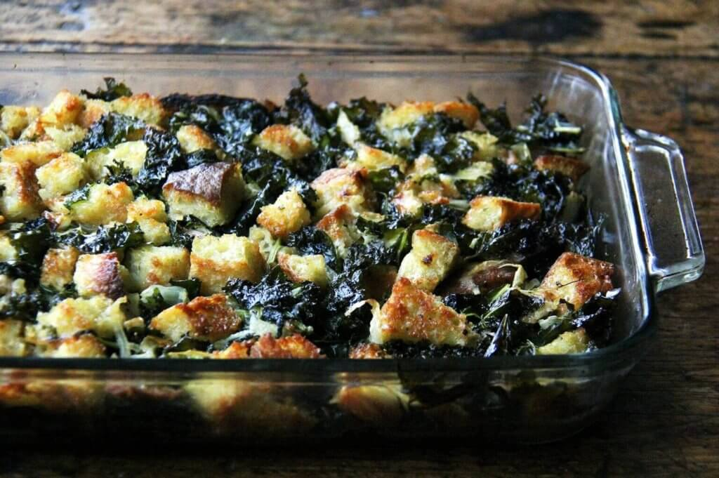 A 9x13-inch pan filled with just-baked stuffing.