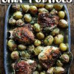 An overhead shot of a platter of sheetpan chicken and potatoes.