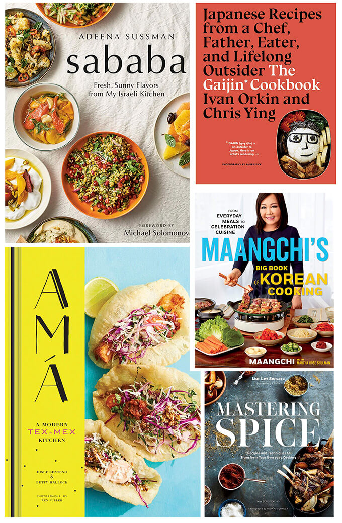 A montage of 5 new fall 2019 cookbooks.