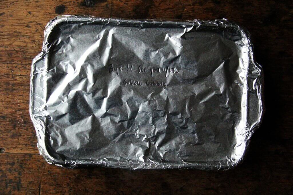 A 9x13-inch pan covered in foil.