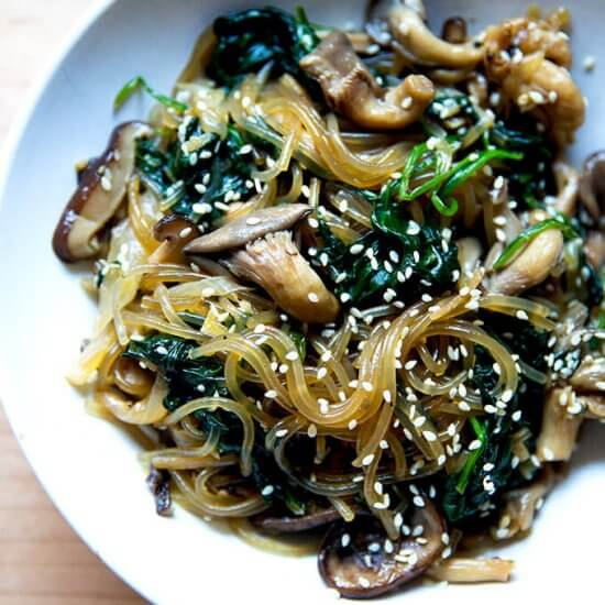 Vegetarian Japchae (Korean Glass Noodles)