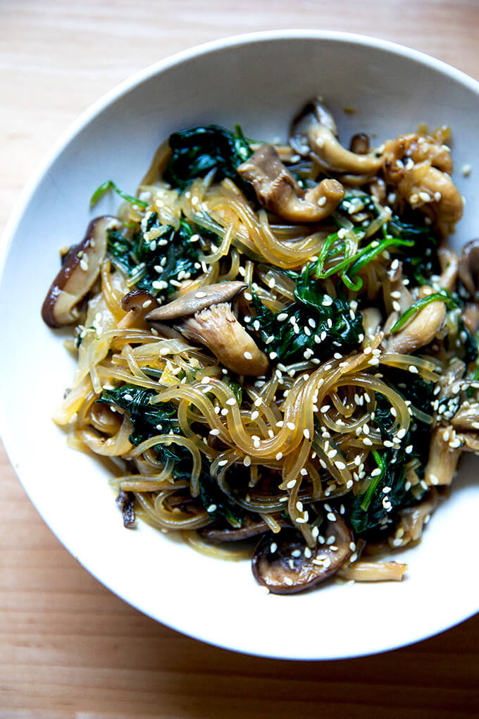 Vegetarian Japchae Korean Glass Noodles Alexandra S Kitchen