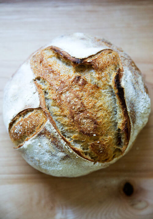Just-baked whole wheat sourdough bread.