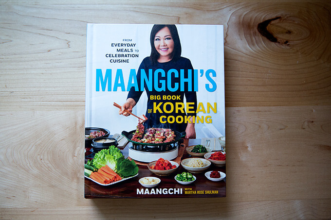 A cookbook on a counter: Maangchi's Big Book of Korean Cooking
