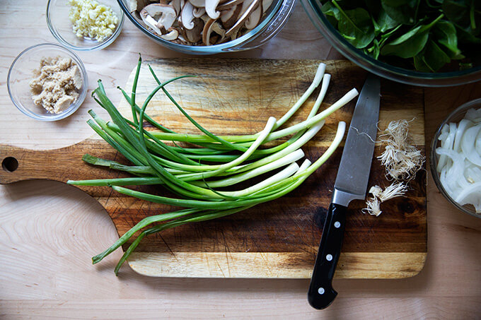 A board with scallions.