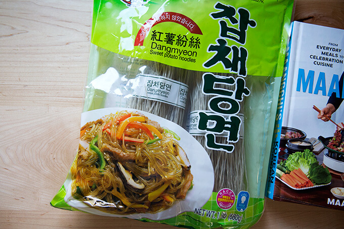 A bag of dangmyeon (sweet potato noodles) on a counter.