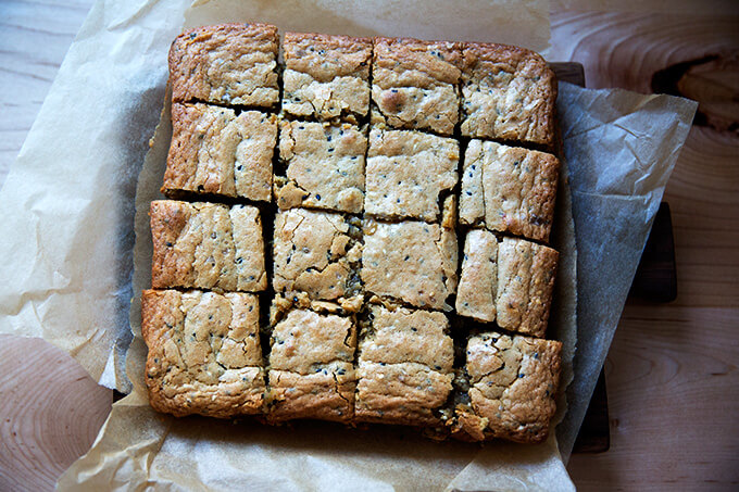 just-baked tahini blondies