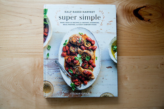 A cookbook on a countertop: Half Baked Harvest Super Simple
