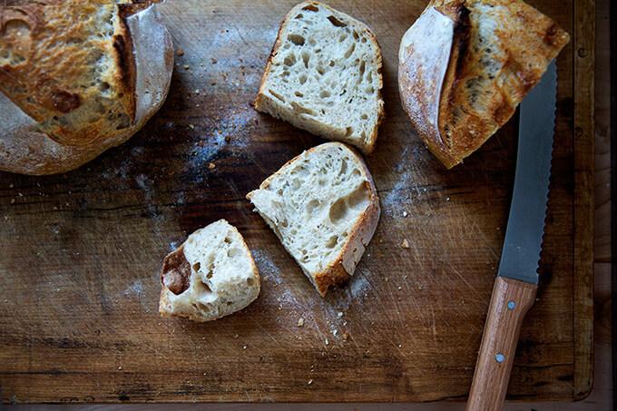 Sourdough bread, freshly baked and sliced.