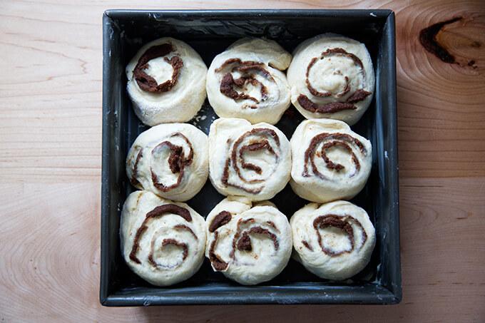 Brioche cinnamon buns in 9-inch square baking dish.