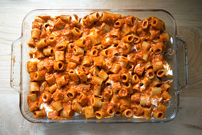 A 9x13-inch pan filled with penne tossed with vodka sauce.