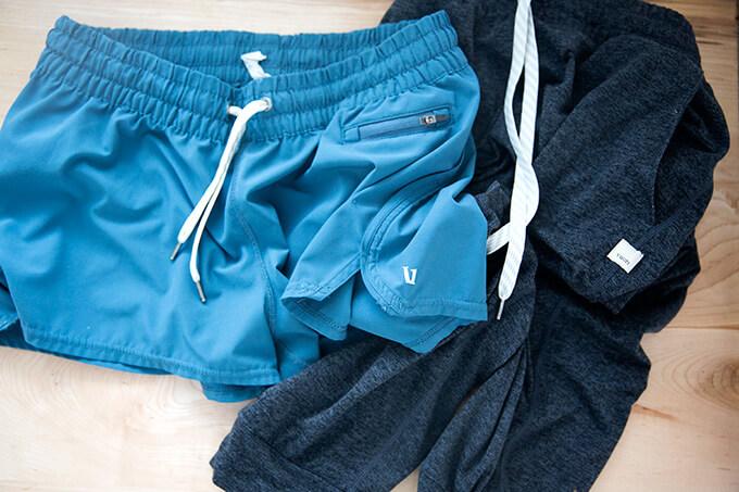 Vuori performance joggers and clementine shorts.