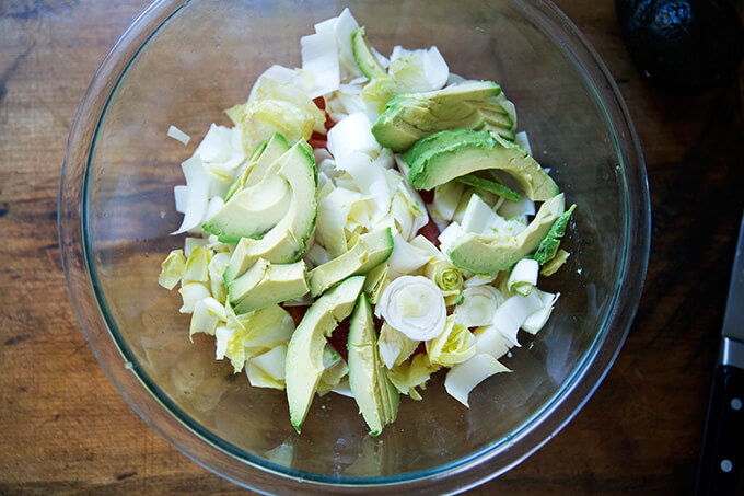 Citrus, endive, and avocado in a bowl.