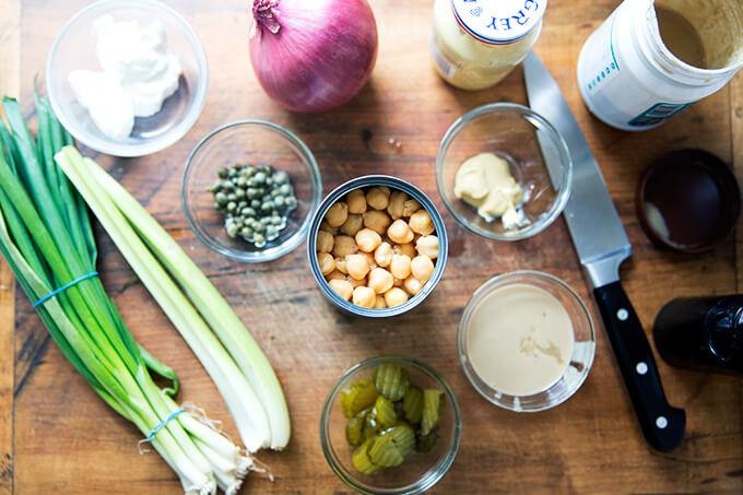 "A board with the ingredients to make no-tuna ""tuna"" salad."