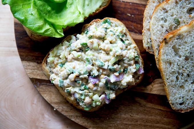 No-tuna tuna salad on a halved slice of three seed bread.