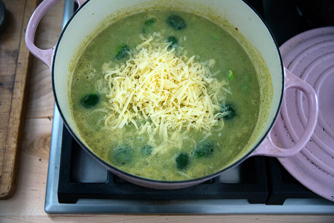 A Dutch oven with broccoli cheddar soup in the works.