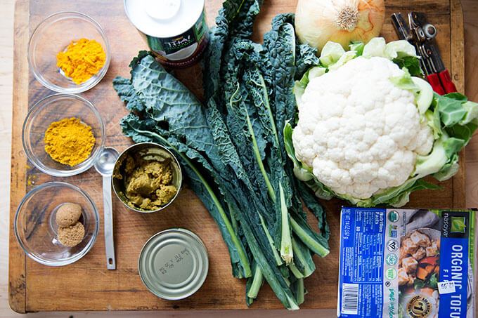 Ingredients for fast vegetarian curry.