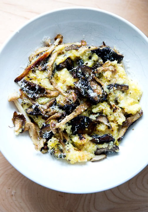 A bowl of roasted mushroom polenta bake topped with parmesan cheese and pepper.