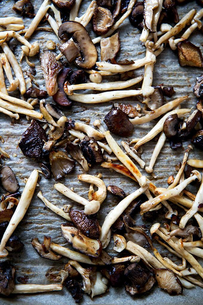 A sheet pan of roasted mushrooms.
