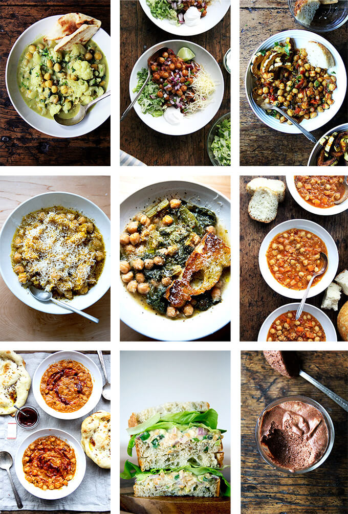 A montage of images depicting recipes made with chickpeas.
