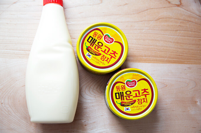 Kewpie mayonnaise and two tins of Korean double hot tuna.