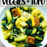 A bowl of veggie and tofu curry.