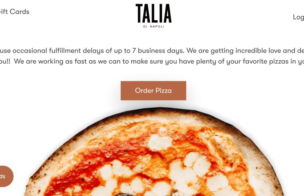Talia pizza.