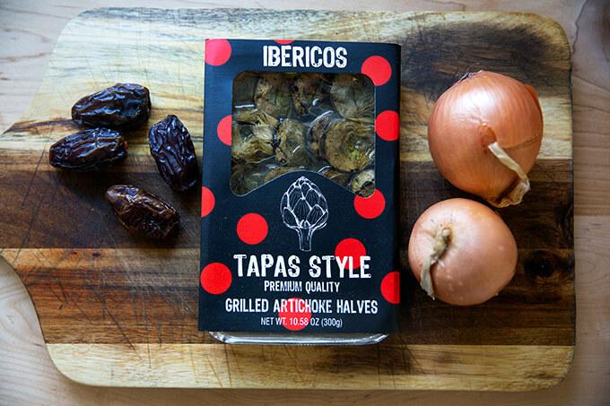 dates, artichoke hearts, and onions
