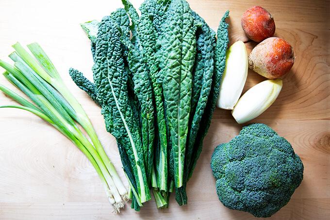 Scallions, kale, endive, beets, broccoli.