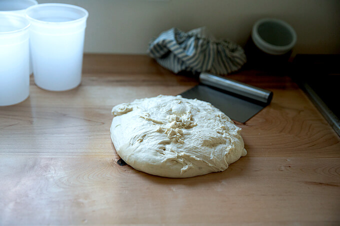 Sourdough pizza dough on the bench.