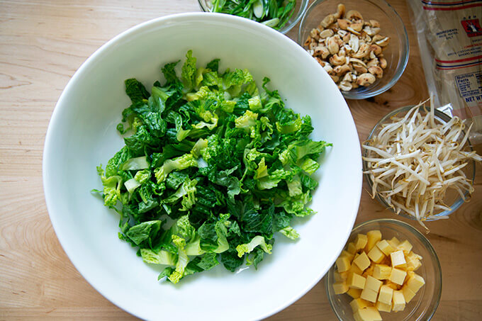 Chopped Romaine in a bowl.