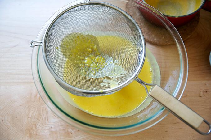 Mustard sauce, strained through a sieve.