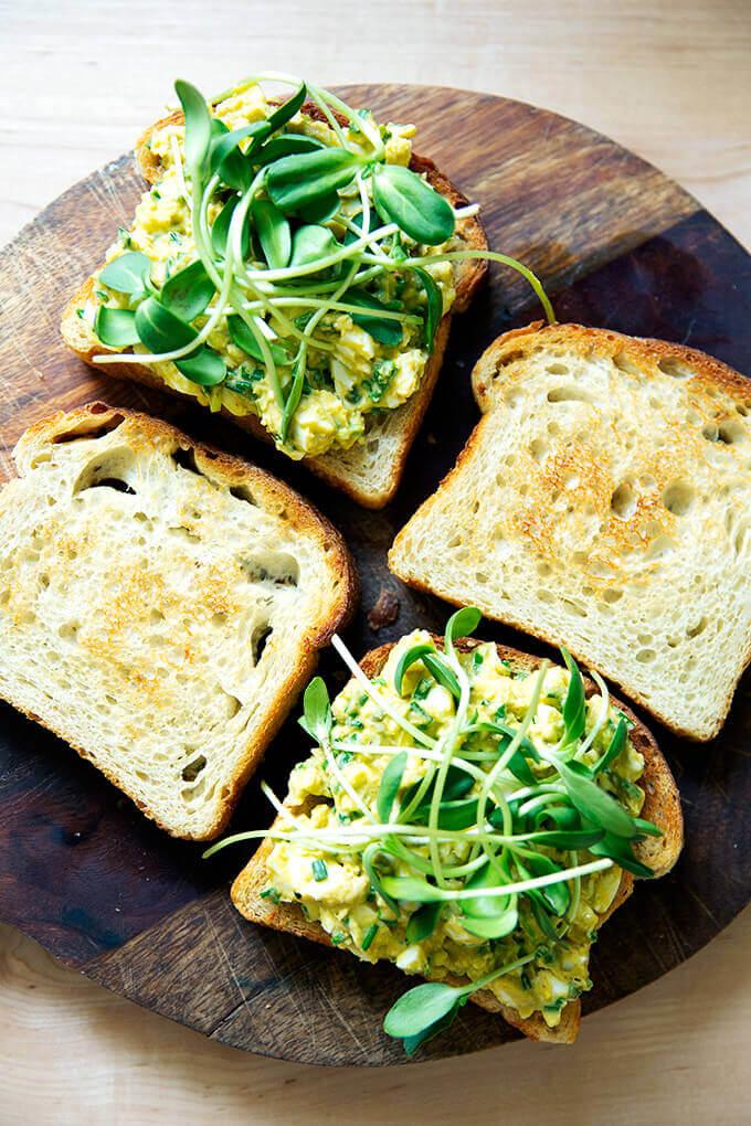 Avocado-egg salad toasts.