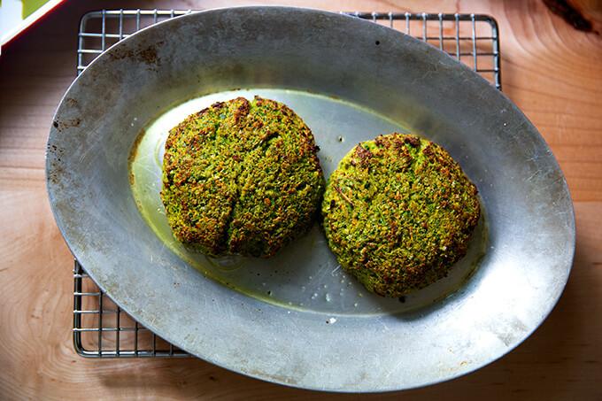 Broiled falafel burgers.