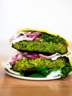 A falafel burger on a plate.