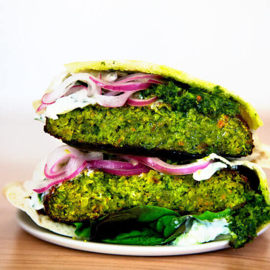Falafel Burgers (Vegetarian, Broiled)