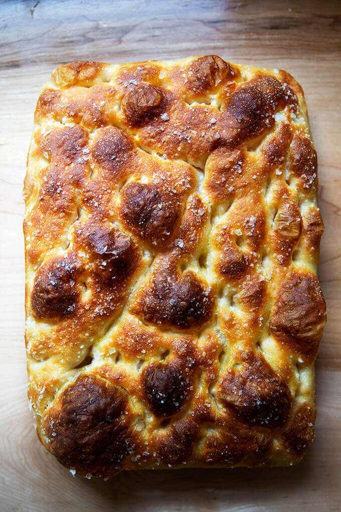 Just-baked sourdough focaccia.