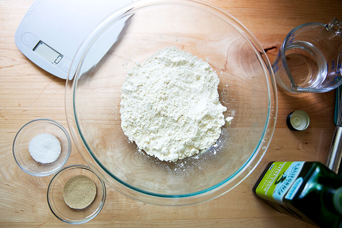 Ingredients to make pita bread on a counter.