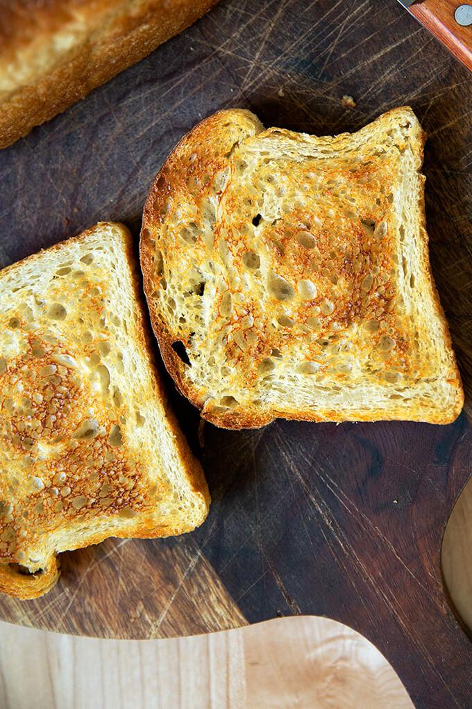 A slice of sourdough toasting bread.
