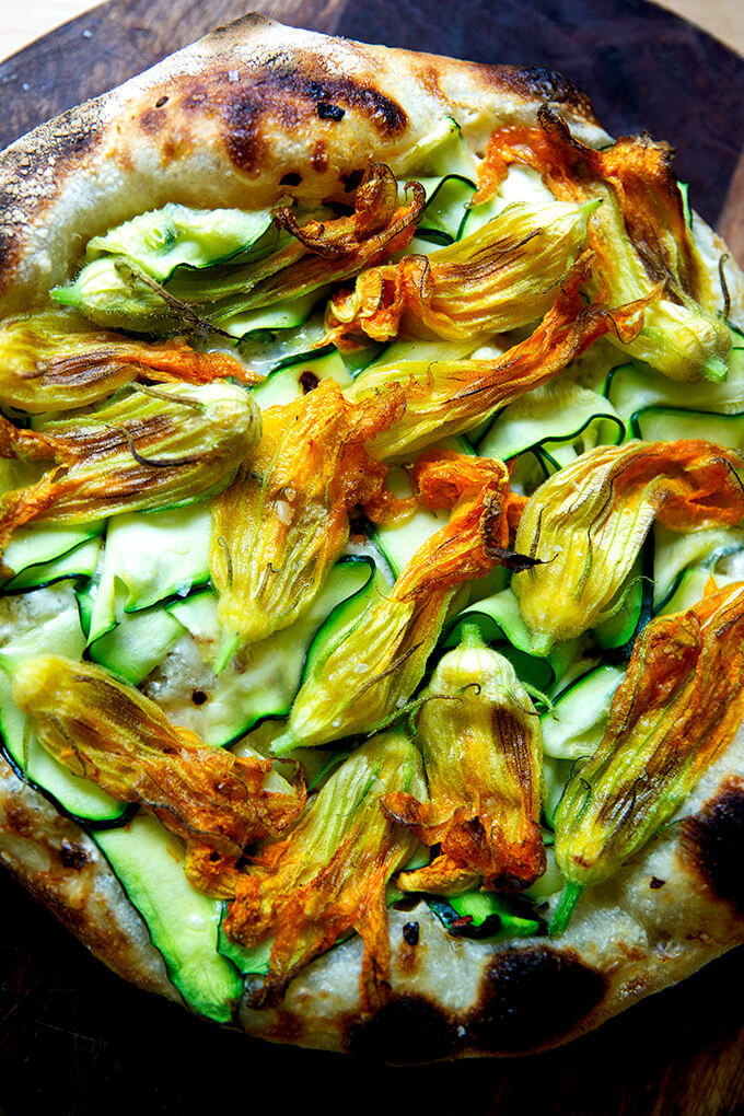 Just baked squash blossom pizza.