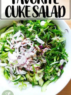 Cucumber salad in bowl.