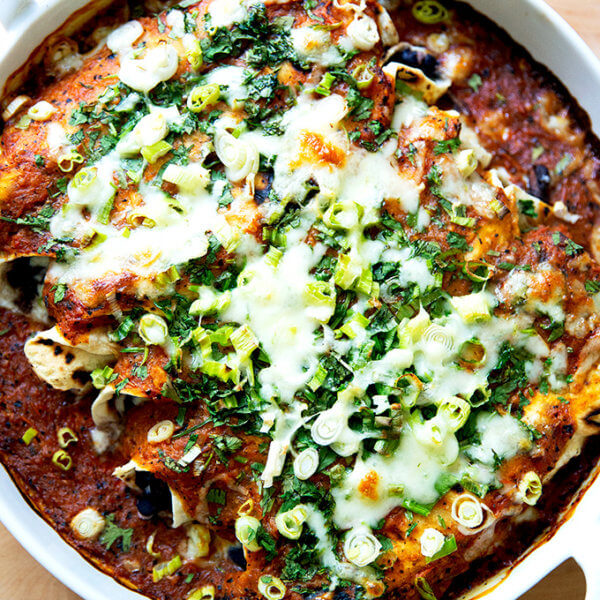 Just-baked black bean and cheese enchiladas.