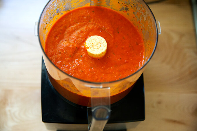 Tomato-basil sauce in a food processor.
