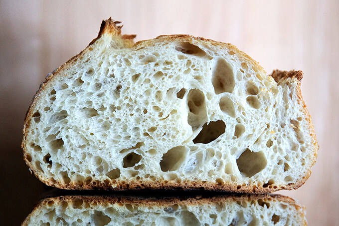 halved loaf of a sourdough bread