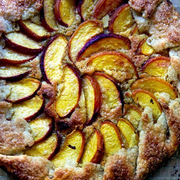 A just-baked peach-frangipane galette.