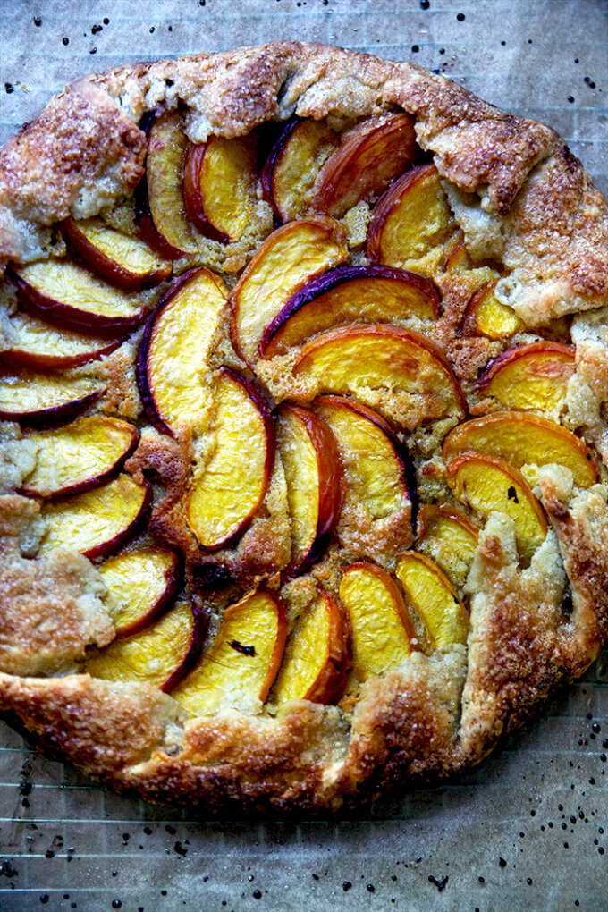 A just-baked peach-frangipane galette.