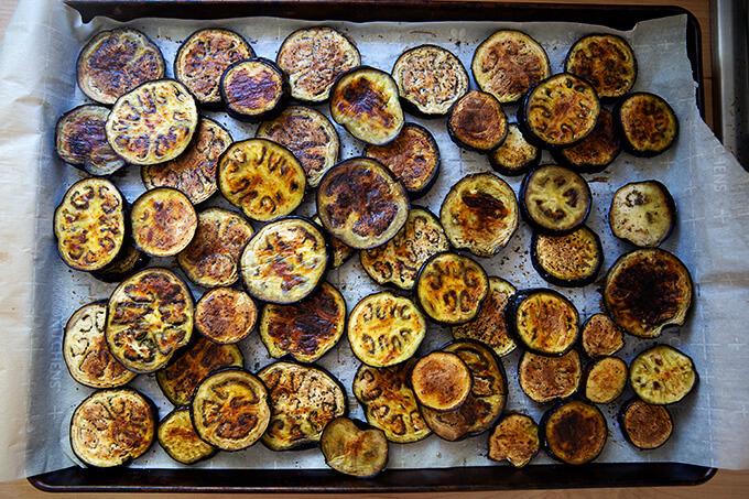 Roasted eggplant slices