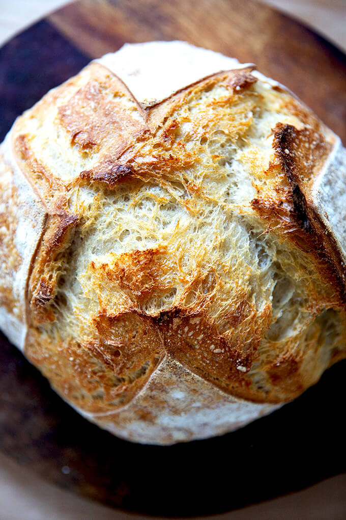 A just-baked sourdough boule.