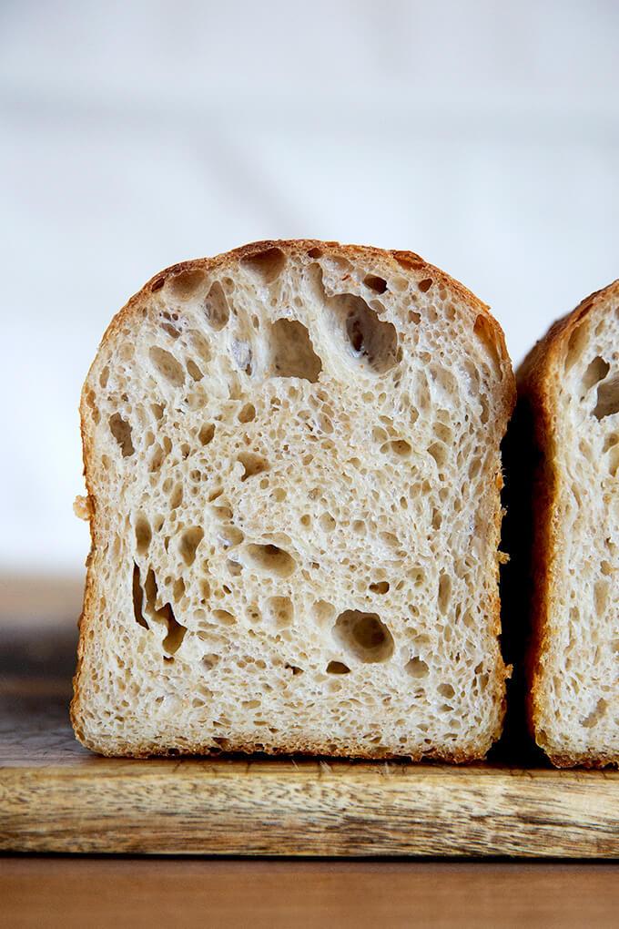 Sourdough Toasting Bread on a board.